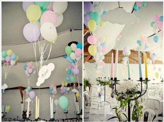 Оформление места проведения свадьбы шарами (два сердца, арка, гирлянды)