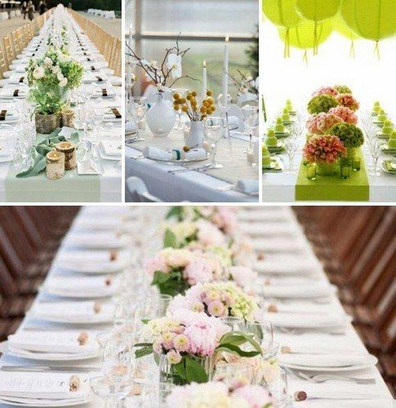 Украшение цветами столов для гостей